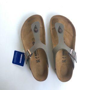 NWT  Birkenstock Gizeh Birko-Flor Stone Sandals